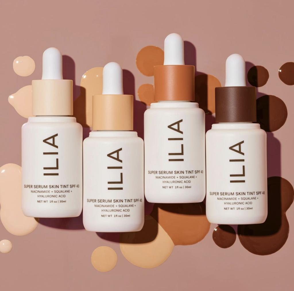 four shades of ilia beauty true serum skin tint in a row