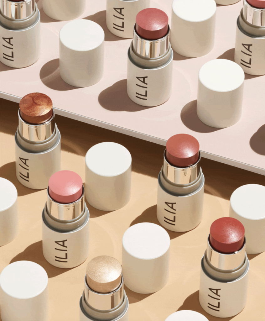 ilia beauty multi-stick lined up to show four colors